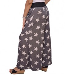 Grey Star Print Women's Palazzo Pants SSP10