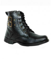 Elvace Black High-Ankle Boot Men Shoes 5002