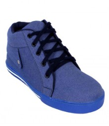 Elvace Blue Canvas Sneakers Men Shoes 7007