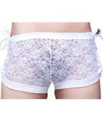 Free Size Italian Lycra Boxers Underwear White-Frill-side-boxer