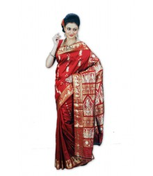 Gorgeous Red & Golden Bridal Wear Silk Saree BHN0010