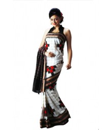 Stylish White & Black Silk Designer Saree BHN0014