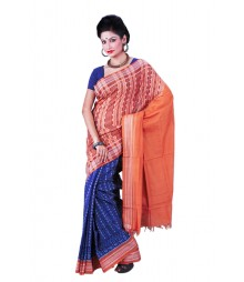 Fashionable Orange & Blue Pure Cotton Designer Saree BHN0029