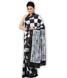 Stylish Black & White Designer Silk Saree BHN0100