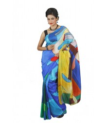 Fantastic Blue & Yellow Pure Silk Saree BHN0102