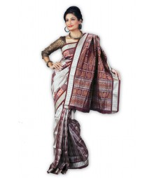 Stylish Brown & Gray Pure Silk Saree BHN4349
