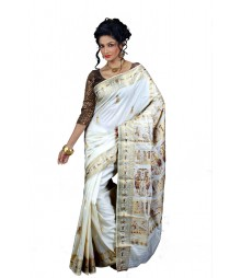 Luminous Off White & Golden Saree BHN9115