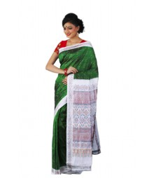 Formal Green & White Pure Silk Saree BHN9123