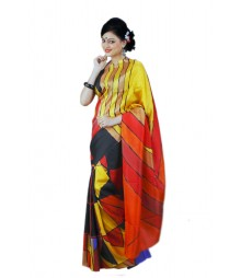 Multi Colour Contrast Silk Saree BHN9131