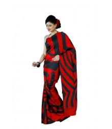 Red & Black Summer Original Silk Saree BHN9136