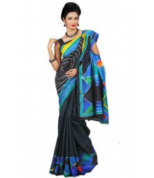 Blue & Black Hand Paint Silk Saree BHN9137