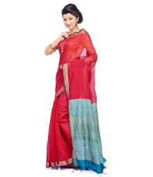 Bengal Red Colour Cotton Silk Saree CBC0017
