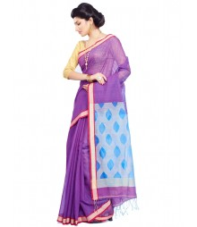 Purple Designer Mulberry Silk Saree CBC0018