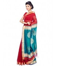 Red Bengal Handloom Resham Silk Saree CBC0021