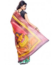 Modern Art Hand Painted Silk Saree CBD100