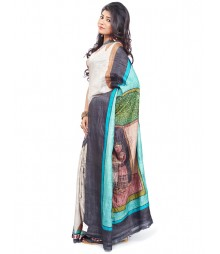 Modern Art Hand Painted Silk Saree CBD102