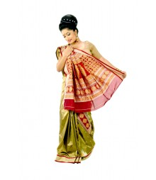 Green & Red Designer Saree With Matching Blouse DSC0001
