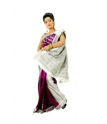 Shining Rosy Pink & Gray Traditional Art Saree DSC0009