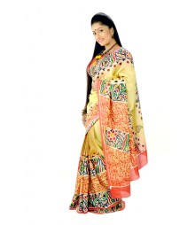 Stylish Multi Colour Original Hand Painted Silk Saree DSC0021