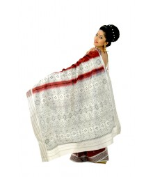 Glistering Red & Steel Traditional Art Kotki Silk Saree DSC0023
