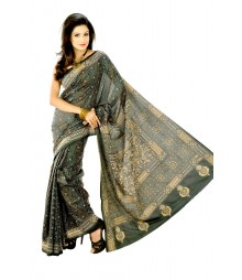 Fascinating Deep Green & Golden Nakshi Sitched Silk Saree DSC0035