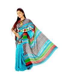 Comfortable Blue Designer Block Printed Silk Saree DSC0040