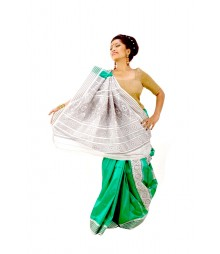 Bright Green & Steel Bomkai Artificial Silk Saree DSC0041