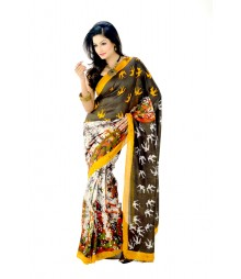Blissful Multi Colour Designer Hand Batik Azo Free Silk Saree DSC0047