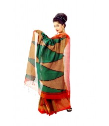 Red & Green Colour Traditional Handloom Silk Saree DSC0049