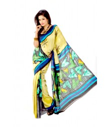Yellow Colour Original Hand Painted Silk Saree DSC0051