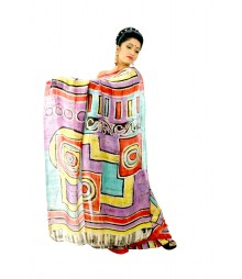 Multi Colour Original Handwork Batik Silk Saree DSC0069