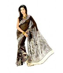 Desirable Black Silk Designer Hand Batik Saree DSC0073