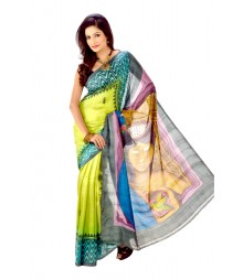 Modern Light Green Colour Handwork Art Silk Saree DSC0077