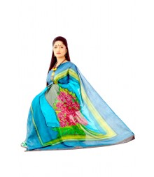 Magical Hand Painted Green Colour Designer Silk Saree DSC0083