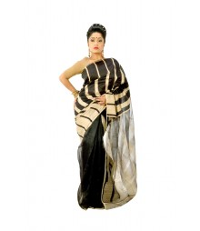 Sheeny Black & Cream Colour Traditional Silk Saree DSC0092
