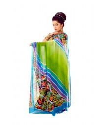 Original Handpainted Green Colour Pure Chiffon Saree DSC0101