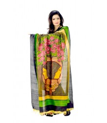 Original Artistic Handprinted Multi Colour Silk Saree DSC0103