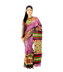 Glamorous Multi Colour Designer Block Printing Silk Saree DSC0115