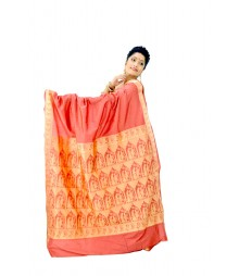 Simple Brick Red Colour Artificial Baluchuri Silk Saree DSC0117