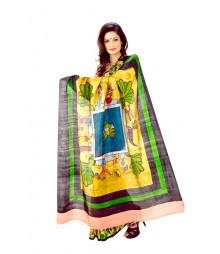 Brilliant Artistic Art Work Multi Colour Silk Saree DSC0124
