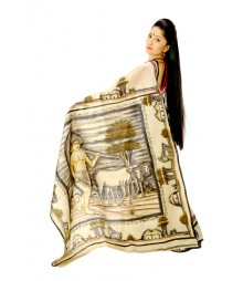 Inventive Hand Painted Multi Colour Pure Silk Saree DSC0148
