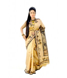 Original Vintage Handpainted Cream Colour Silk Saree DSC0157
