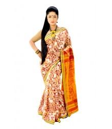 Multi Colour Designer Handmade Batikwork Cotton Saree DSC0163