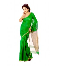 Prominent Deep Green Traditinal Handloom Silk Saree DSC0195