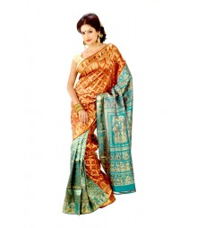 Remarkable Green & Golden Colour Baluchuri Silk Saree DSC0224