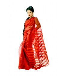 Gorgeous Designer Red Bengal Tant Silk Saree DSC0305