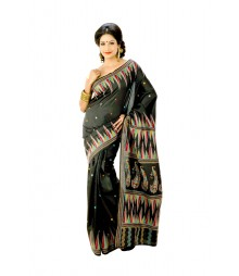 Original Kantha Handwork Designer Black Silk Saree DSC0331