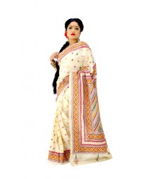 Glorious Cream Colour Gujrati Handwork Silk Saree DSC0400