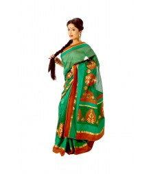 Mixmatch Green Colour Designer Art Silk Saree DSC0403