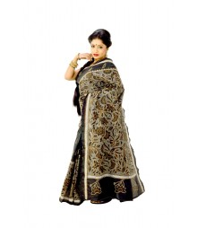 Glorious Bengali Nakshi Kantha Black Silk Saree DSC0429